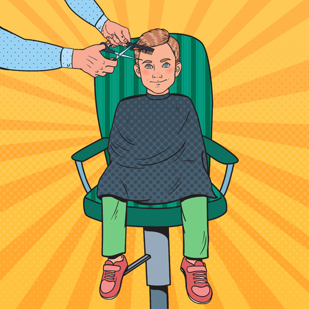 Pop Art Young Boy Getting a Haircut. Kid in Barber Shop. Hairdresser Cutting Child Hair. Vector illustration Illustration