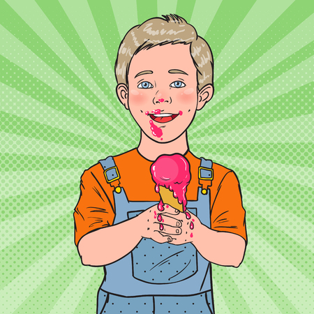 Pop Art Happy Little Boy Eating Ice Cream. Kid with Cold Dessert. Sweet Food. Vector illustration