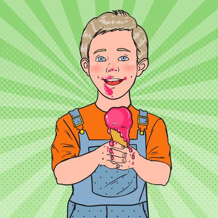 Pop Art Happy Little Boy Eating Ice Cream. Kid with Cold Dessert. Sweet Food. Vector illustration