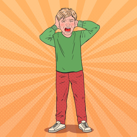 Pop Art Screaming Boy Tearing his Hair. Aggressive Kid. Emotional Child Facial Expression. Vector illustration Illustration