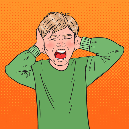 Pop Art Angry Screaming Boy Tearing his Hair. Aggressive Kid. Emotional Child Facial Expression. Vector illustration