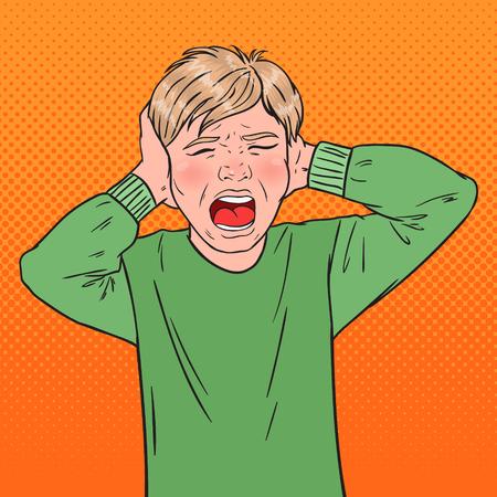 Pop Art Angry Screaming Boy rasgándose el pelo. Niño agresivo. Expresión facial emocional del niño. Ilustración vectorial