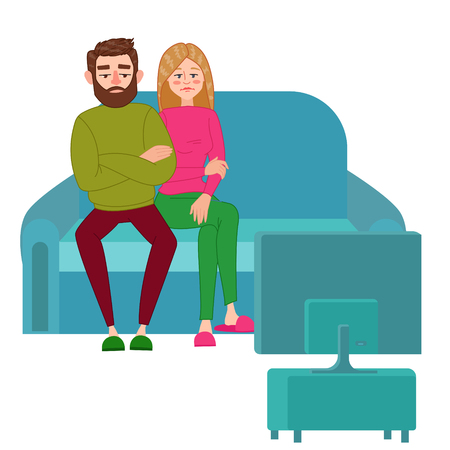 Unhappy and Tired Couple Watching TV. Vector illustration