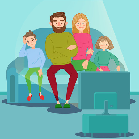 Bored Family Watching TV. Unhappy Parents with Children Sitting on Sofa behind TV Set. Vector illustration Stock Vector - 98078059