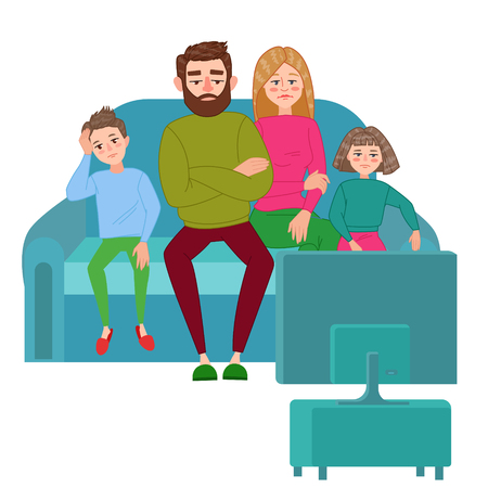 Bored Family Watching TV. Unhappy Parents with Children Sitting on Sofa behind TV Set. Vector illustration