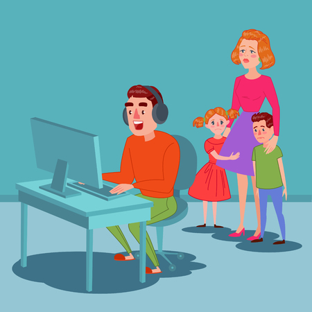 Father Playing on Video Games. Computer Addicted Dad. Family Problems Parenting Issues Concept. Vector illustration