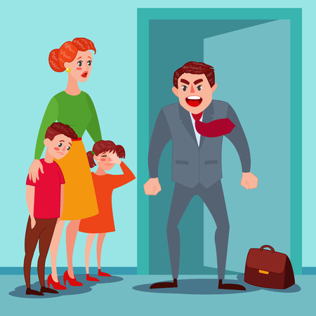 Furious Father Yelling at his Wife and Kids. Family Quarrel Parents Issues. Man Shouting on Children. Vector illustration