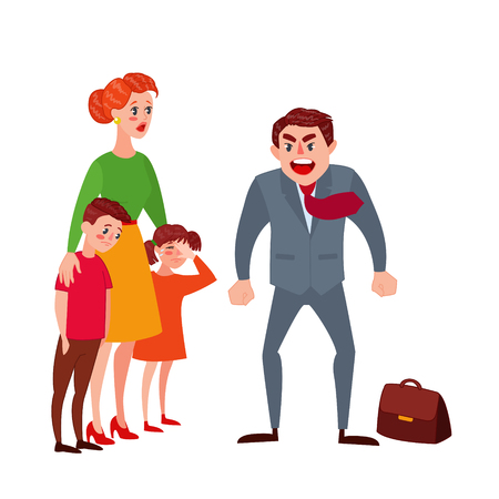 Furious Father Yelling at his Wife and Kids. Family Quarrel Parents Issues. Angry Man Shouting on Children. Vector illustration Vettoriali