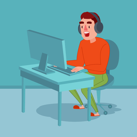 Happy Young Man with Headphones Playing Computer Game. Vector illustration  イラスト・ベクター素材