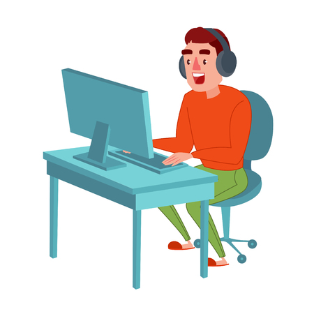 Happy Young Man with Headphones Playing Computer Game. Vector illustration Çizim