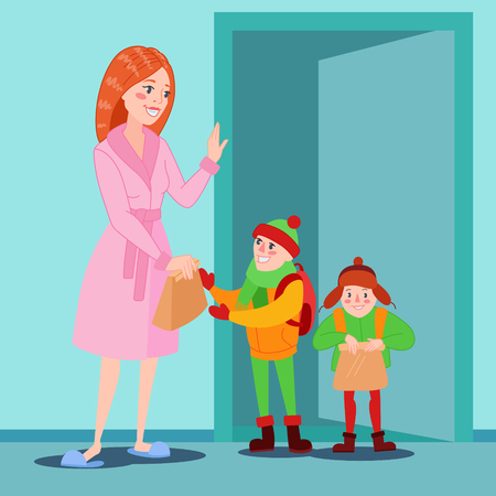 Happy Mother Prepares her Sons for School. Cartoon Mom Giving Lunch to the Boy. Vector illustration Ilustração