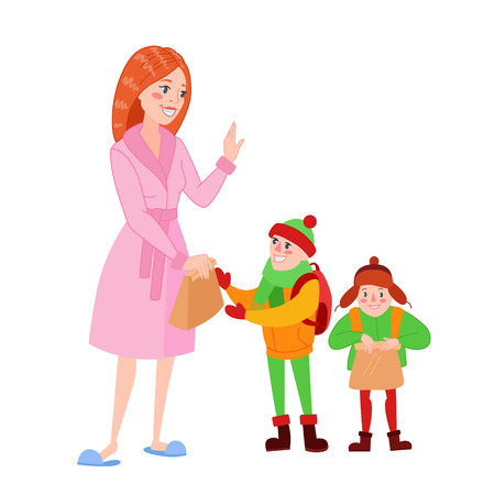 Happy Mother Prepares her Sons for School. Cartoon Mom Giving Lunch to the Boy. Parenting Concept. Vector illustration.