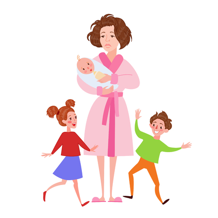 Desperate Mother with Newborn and Children. Motherhood Concept. Vector illustration