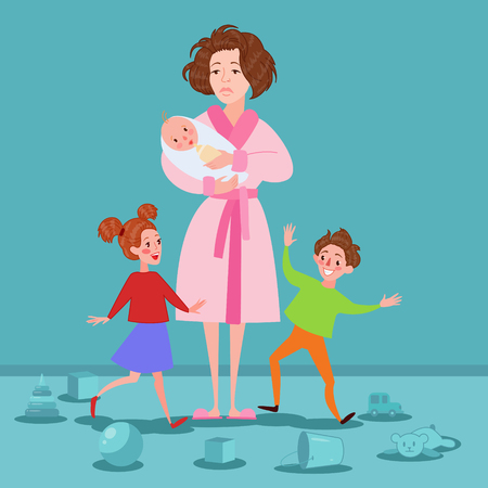 Exhausted Mother with Newborn and Children. Tired Cartoon Woman and Romping Kids. Motherhood Concept. Vector illustration. Illustration
