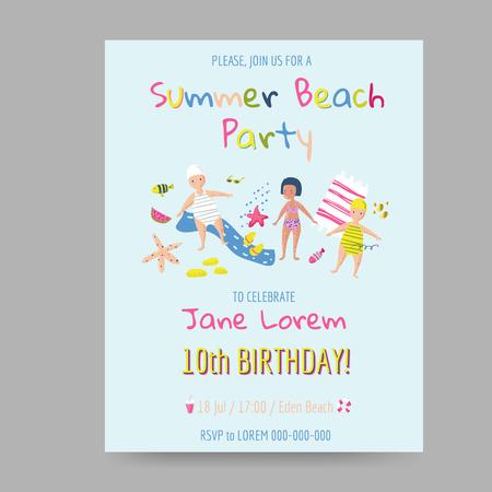 Summer beach birthday invitation card vector illustration royalty summer beach birthday invitation card vector illustration stock vector 98081150 filmwisefo