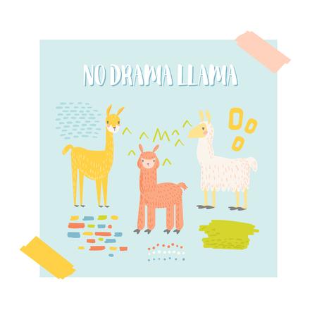 Cute Llama Design for Invitation Card. Vector illustration Illustration