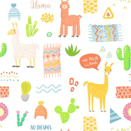 Hand Drawn Childish Background with llamas and cactuses. Vector illustration