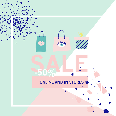 Sale Banner Template. Discount Poster, Promo Web Design with Gifts. Promotional Fashion Background for Placard, Flyer, Advertisement. Vector illustration