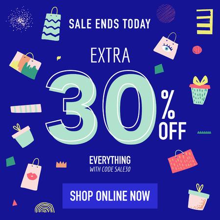 Online Sale Banner Template. Discount Poster. Vector illustration Illustration