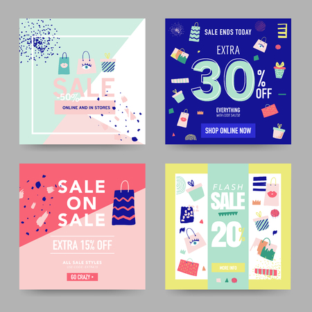 Sale Banner Templates with different designs. Discount Poster. Vector illustration