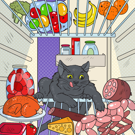 Pop Art Cat Steals Food from Refrigerator. Hungry Pet in Fridge. Vector illustration.