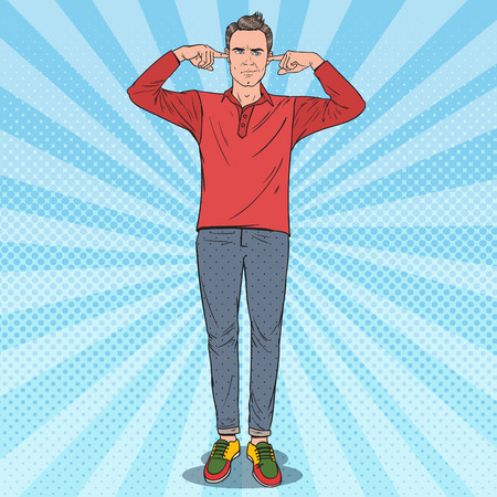 Pop Art Frustrated Man Covering Ears with Fingers. Vector illustration