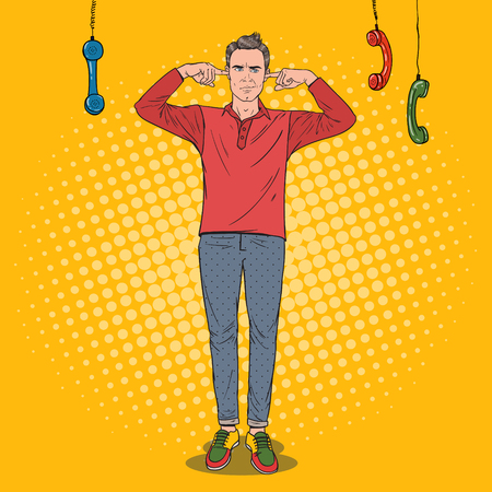 Pop Art Overworked Frustrated Man Covering Ears with Fingers from Annoying Phones. Vector illustration Illusztráció