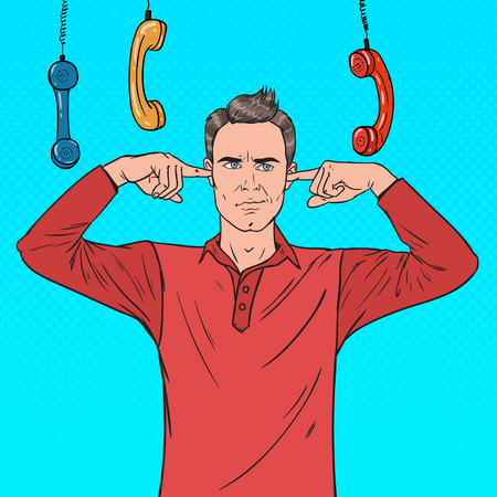 Pop Art Overworked Frustrated Man Covering Ears with Fingers from Annoying Phones. Vector illustration Illustration