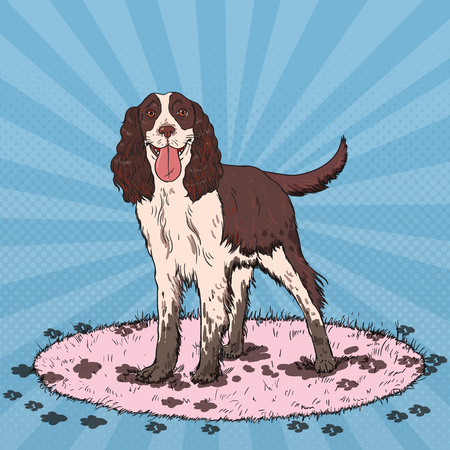 Pop Art Springer Spaniel. Cute Dirty Dog. Vector illustration