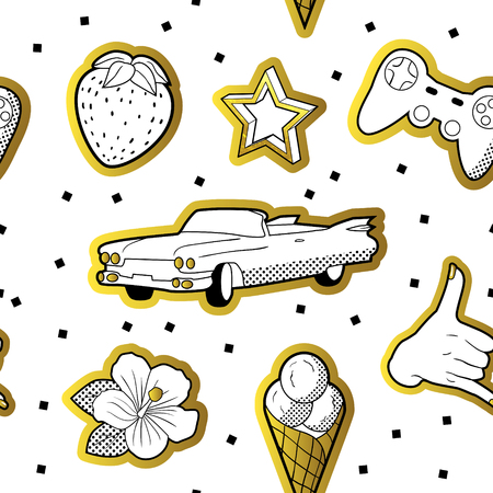 Fashionable Seamless Pattern in Pop Art Style with Golden Dotted Elements. Fabric Fashion Background 80s-90s with Stars, Ice Cream and Car. Vector illustration