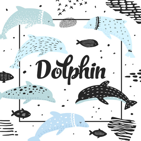 Nautical Design with Dolphins in Childish Style.