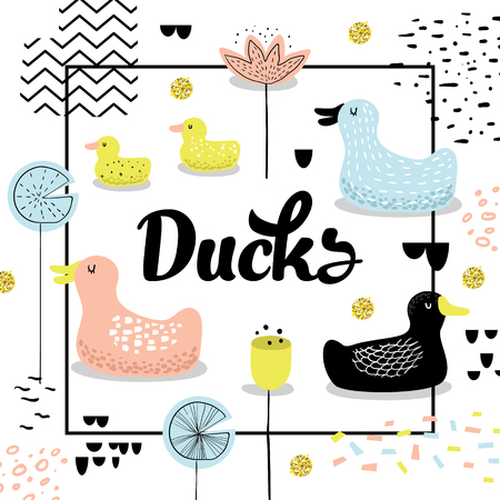 Childish Design with Cute Ducks. Baby Background with Birds and Abstract Elements for Decoration, Invitation, Cover. Vector illustration