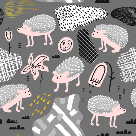 Seamless Pattern with Cute Hedgehog.