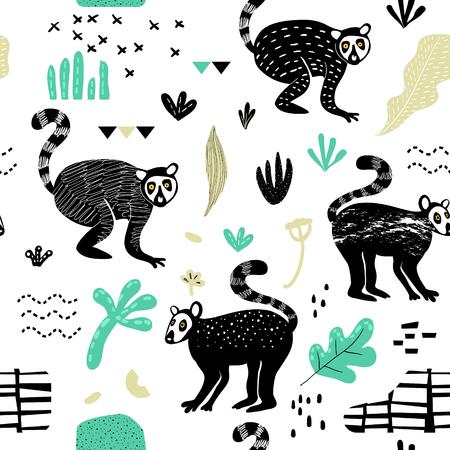 Seamless Pattern with Cute Lemur. Creative Hand Drawn Childish Animal Background for Fabric, Wallpaper, Decoration. Vector illustration  イラスト・ベクター素材