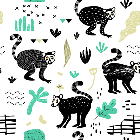 Seamless Pattern with Cute Lemur. Creative Hand Drawn Childish Animal Background for Fabric, Wallpaper, Decoration. Vector illustration Ilustracja