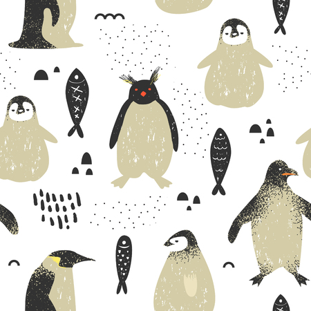 Baby Shower Seamless Pattern with Cute Penguins. Creative Hand Drawn Childish Penguin Background for Fabric, Wallpaper, Decoration. Vector illustration
