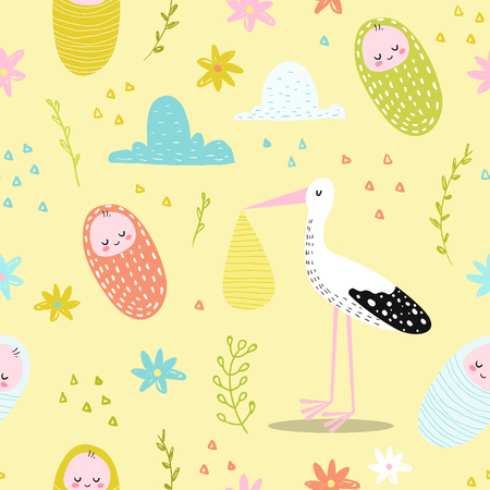 Baby Shower Seamless Pattern with Cute Stork and Newborn Child.