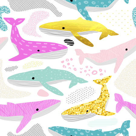 Whales Seamless Pattern. Childish Marine Background with Abstract Elements. Baby Oceanic Doodle for Fabric Textile, Wallpaper, Wrapping. Vector illustration Ilustração