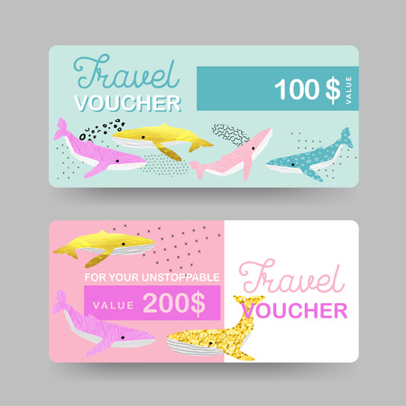 Summer Gift Travel Vouchers. Beach Vacations Coupon, Certificate, Banner Templates with Cute Whales. Sale Discount Background in Marine Theme. Vector illustration Vettoriali