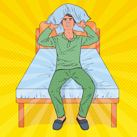 Pop Art Frustrated Man Closing Ears with Pillow. Illustration