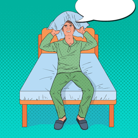 Pop Art Angry Man Closing Ears with Pillow. Stressful Morning Situation. Guy Suffering from Insomnia. Vector illustration