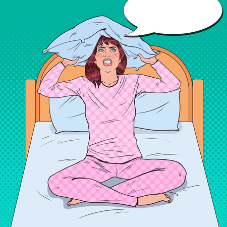 Pop Art Frustrated Woman Closing Ears with Pillow. Stressful Morning Situation. Girl Suffering from Insomnia. Vector illustration