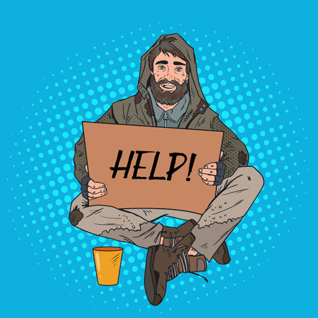 Pop Art Homeless Man. Male Beggar with Sign Cardboard Asking for Help.