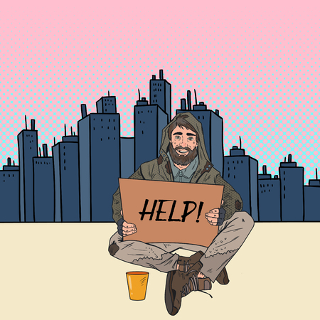Pop Art Homeless Man. Male Beggar with Sign Cardboard Ask for Help on the City Street. Poverty Concept. Vector illustration
