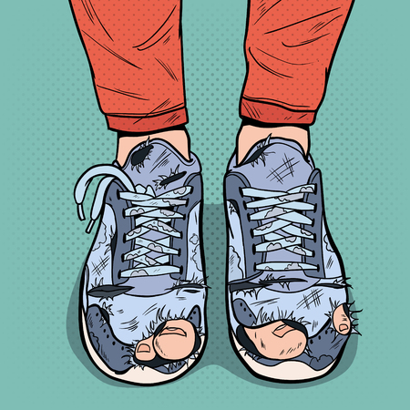 Pop Art Old Sneakers. Dirty Old Shoes. Hipster Wear Damaged Footwear. Vector illustration Stok Fotoğraf - 98750667