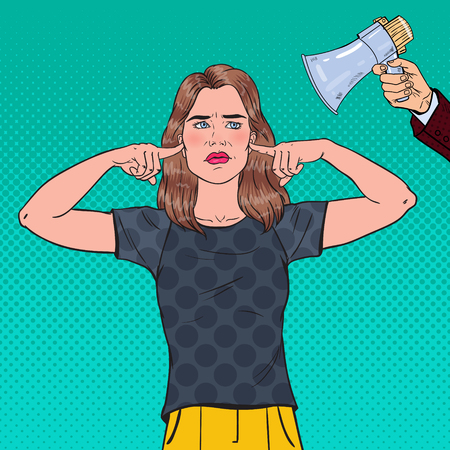 Pop Art Frustrated Woman Closed Ears with Fingers from Megaphone. Ignorance Concept. Vector illustration