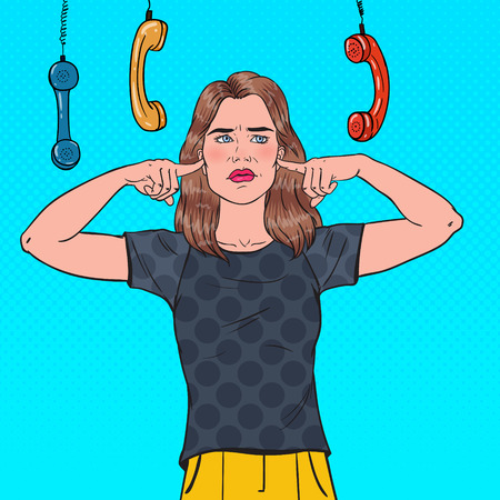 Pop Art Overworked Frustrated Woman Closed Ears with Fingers from Annoying Phones. Multitasking Office Work. Ignorance Concept. Vector illustration