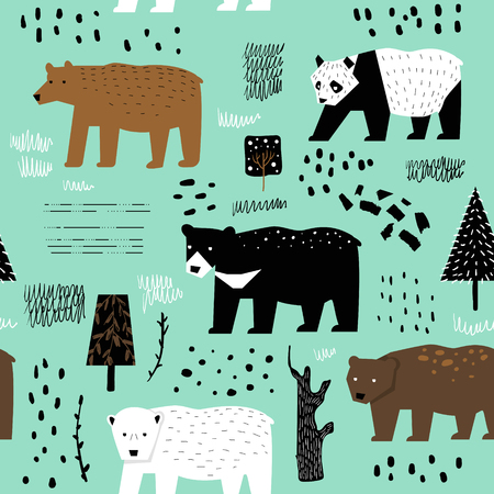 Seamless Pattern with Cute Bears. Childish Animals Background for Fabric Textile, Wallpaper, Wrapping Paper, Decoration. Vector illustration