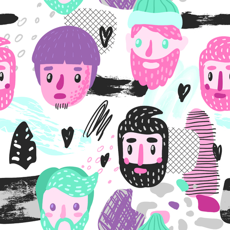 Hipster Seamless Pattern with Funny Men Faces. Hand Drawn Childish Background with Abstract Elements for Fabric Textile, Wallpaper, Wrapping Paper, Decoration. Vector illustration 일러스트