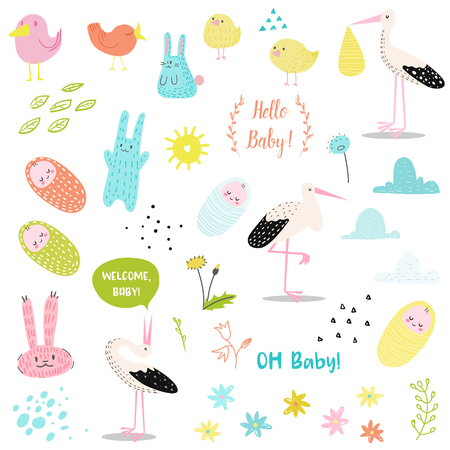 Baby Shower Decorative Elements Set with Cute Stork, Newborn Child and Bunnies. Party Decoration, Invitation, Happy Birthday. Vector illustration Vectores